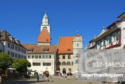 Town call and minster in Ueberlingen, Lake Constance, Baden-Wuerttemberg, Germany, Europe