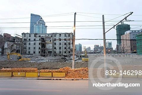 Demolition area, urban redevelopment, Shanghai, China, Asia