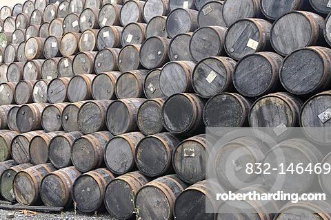 Stack of whiskey barrels, Locke's Distillery, the oldest licensed whiskey distillery in the world, Kilbeggan, Westmeath, Midlands, Ireland, Europe