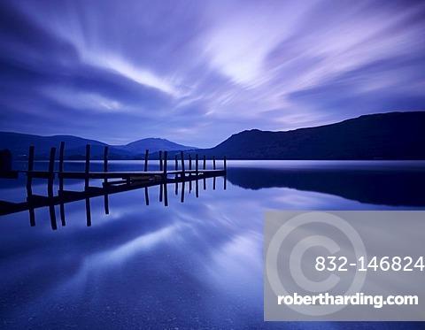 Jetty at Brandelhow Bay at dawn, Derwent Water, Cumbria, Lake District, England, United Kingdom, Europe