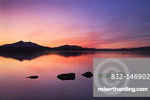 Sunset at Hopfensee Lake, Ostallgaeu, Upper Bavaria, Germany, Europe