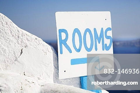 Sign, Rooms, Fira, Santorini, Cyclades, Greece, Europe
