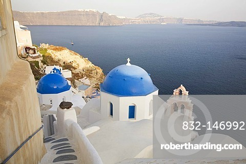 Church with blue cupolas, Oia, Santorini, Cyclades, Greece, Europe