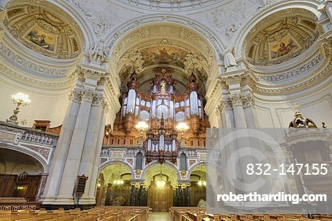 Interior view of Berliner Dom or Berlin Cathedral with altar, Berlin, Germany, Europe