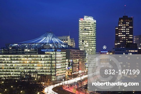 Potsdamer Platz square with DB Tower, Sony Center and Kollhoff Tower, Berlin, Germany, Europe