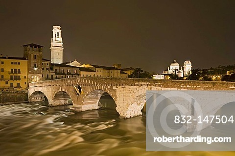 Ponte Pietra bridge with Verona Cathedral, Cattedrale di Santa Maria Matricolare or Duomo di Verona at night, Verona, Veneto, Italy, Europe
