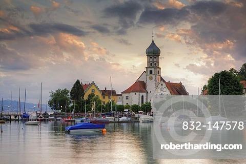 Baroque church of St. George, Wasserburg, Lake Constance, Bavaria, Germany, Europe