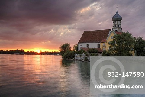 Baroque church of St. George in Wasserburg at sunset, Lake Constance, Bavaria, Germany, Europe