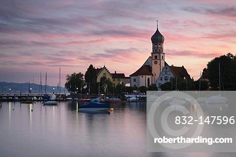 Church of St. George at sunset, Wasserburg, Lake Constance, Bavaria, Germany, Europe