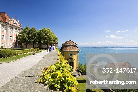 View from the Neues Schloss castle in Meersburg on Lake Constance, Baden-Wuerttemberg, Germany, Europe