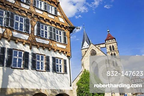 Church of St. Dionys with Abt Fulrad, Esslingen am Neckar, Baden-Wuerttemberg, Germany, Europe