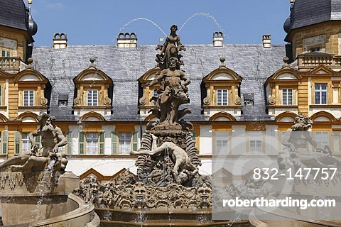 Cascade and fountains, Schloss Seehof castle, Memmelsdorf, Upper Franconia, Franconia, Bavaria, Germany, Europe