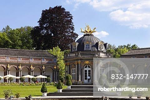Neues Schloss castle, orangery, Sonnentempel sun temple, Eremitage park, Bayreuth, Upper Franconia, Franconia, Bavaria, Germany, Europe
