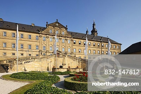 Inner courtyard of Banz Abbey, Bad Staffelstein, Upper Franconia, Franconia, Bavaria, Germany, Europe