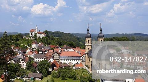 Goessweinstein with Goessweinstein Castle and Basilica, Franconian Switzerland, Franconian Alb, Upper Franconia, Franconia, Bavaria, Germany, Europe