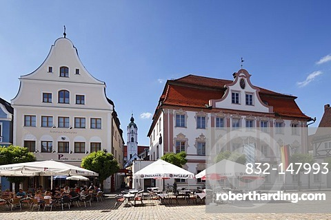 Marketplace with Frauenkirche Church of Our Lady and Brentanohaus building, Guenzburg, Donauried region, Swabia, Bavaria, Germany, Europe