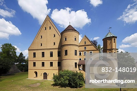 Town hall in Schloss Wertingen castle, Donauried region, Germany, Swabia, Bavaria, Germany, Europe