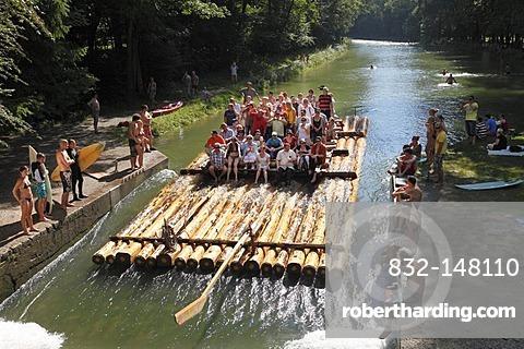 Isar-raft on the Isar Flosskanal canal, Thalkirchen, Munich, Upper Bavaria, Bavaria, Germany, Europe