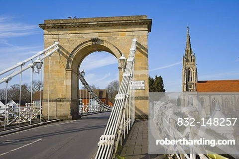 Marlow Suspension Bridge and All Saints Church by Thames river, Marlow, Buckinghamshire, England, United Kingdom, Europe