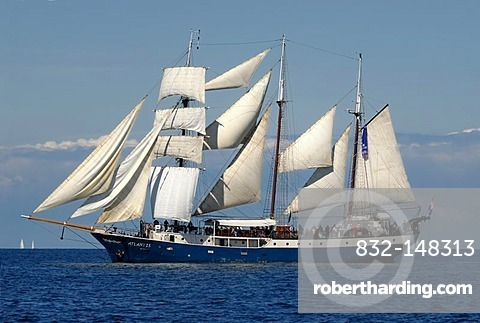 Fully rigged three-masted schooner, Atlantis, traditional ship, tall ship, Kiel Week 2010, Kiel Fjord, Schleswig-Holstein, Germany, Europe