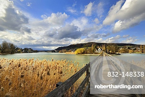 Wooden bridge to the Werd monastery island in Stein am Rhein, Eschenz, Canton Thurgau, Switzerland, Europe