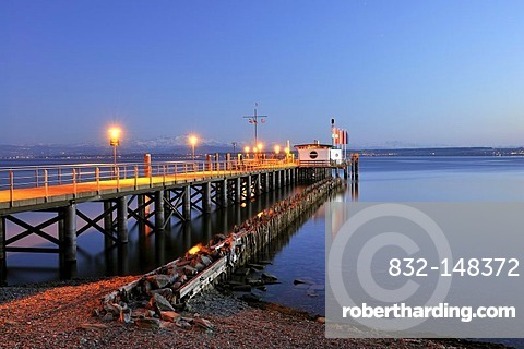 Illuminated jetty at dusk, Lake Constance, Hagnau, Bodenseekreis district, Baden-Wuerttemberg, Germany, Europe