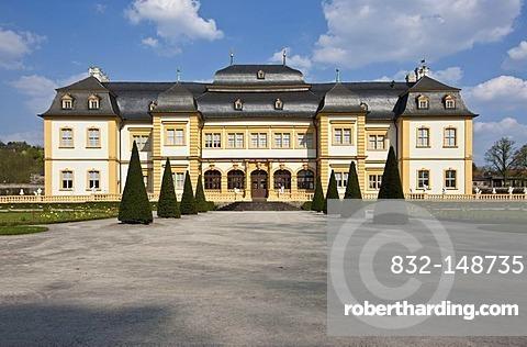 Schloss Veitshoechheim castle and Hofgarten palace gardens, castle of the Wuerzburg prince-bishops, built 1680-1682 by Heinrich Zimmer, Wuerzburg district, Bavaria, Germany, Europe