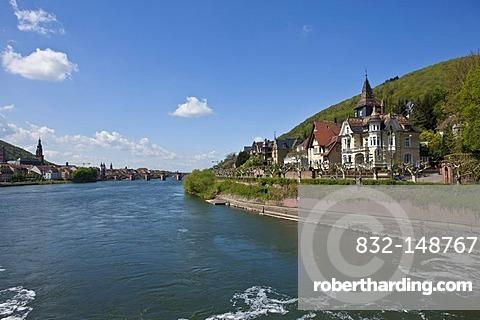 View of the historic buildings alongside the Neckar River, Alte Bruecke Bridge in the distance, Heidelberg, Neckar, Wurtemberg-Baden, Germany, Europe
