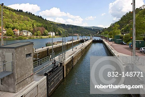 View of a lock on the Neckar River, Heidelberg, Neckar, Baden-Wuerttemberg Germany, Europe