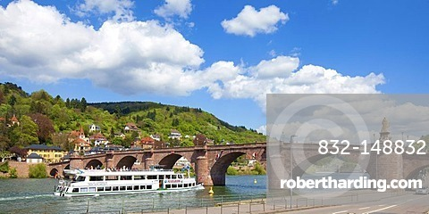 Old Bridge or Karl-Theodor Bridge crossing the Neckar River, Heidelberg, Rhine-Neckar Metropolitan Region, Baden-Wuerttemberg, Germany, Europe