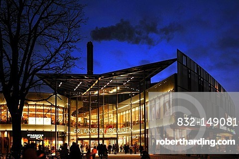 Arcaden Shopping Centre at night with smoking chimney of heating plant, Erlangen, Middle Franconia, Bavaria, Germany, Europe