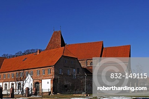 Eastern view of the old Monastery, founded in 1230, against blue sky, Rhena, Mecklenburg-Western Pomerania, Germany, Europe