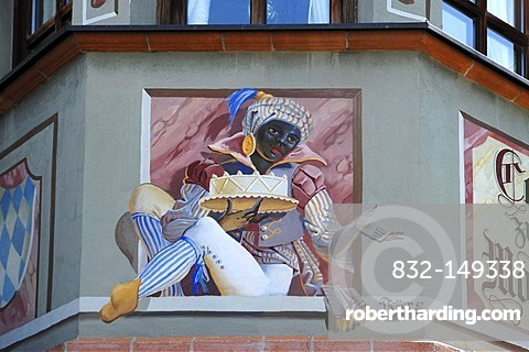 Moor with cake, a painting at the Cafe zum Mohren, Bahnhofstrasse 13, Mittenwald, Upper Bavaria, Bavaria, Germany, Europe