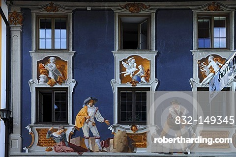 Mural across a whole facade, Hochstrasse 4, Mittenwald, Upper Bavaria, Bavaria, Germany, Europe