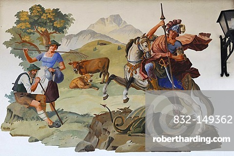 Lueftlmalerei traditional mural, peasant couple, and St. George and the dragon, on a facade, Adolf-Baader-Strasse 7, Mittenwald, Upper Bavaria, Bavaria, Germany, Europe