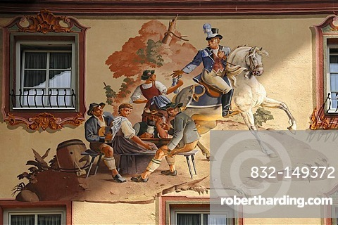 Lueftlmalerei traditional mural of a rustic dinner with postillion, 1979, by Sebastian and Stephen Pfeffer, on the Post Hotel, Obermarkt 9, Mittenwald, Upper Bavaria, Bavaria, Germany, Europe