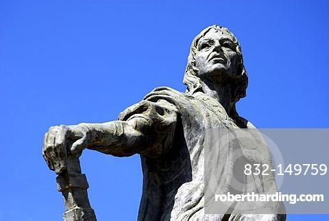 Christopher Columbus statue at the monastery Monasterio de la Rabida, Palos de la Frontera, Costa de la Luz, Huelva region, Andalucia, Spain, Europe