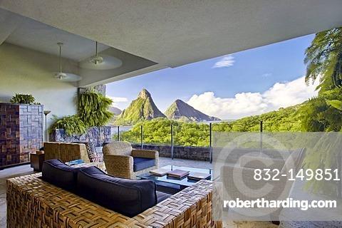 Suite, living room suite, no external wall, Pitons mountains, Jade Mountain luxury hotel, Saint Lucia, Windward Islands, Lesser Antilles, Caribbean, Caribbean Sea