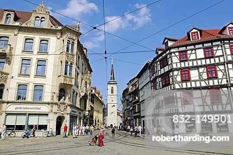 Entrance from Domplatz square to Marktstrasse towards Fischmarkt, behind, the Church of All Saints, Erfurt, Thuringia, Germany, Europe