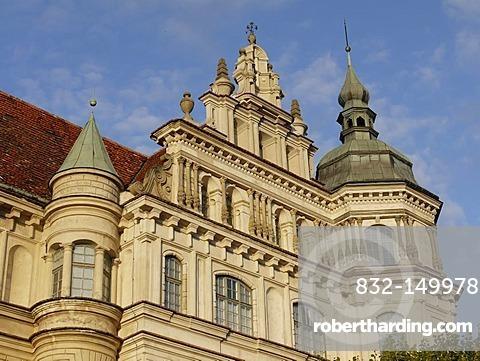 Schloss Guestrow castle, Renaissance style, Guestrow, Mecklenburg-Western Pomerania, Germany, Europe