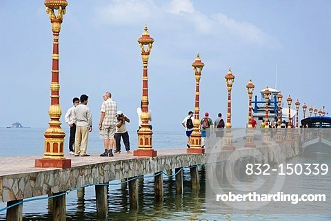 Tourists on the pier of Victory Beach, Sihanoukville, Cambodia, Indochina, Southeast Asia