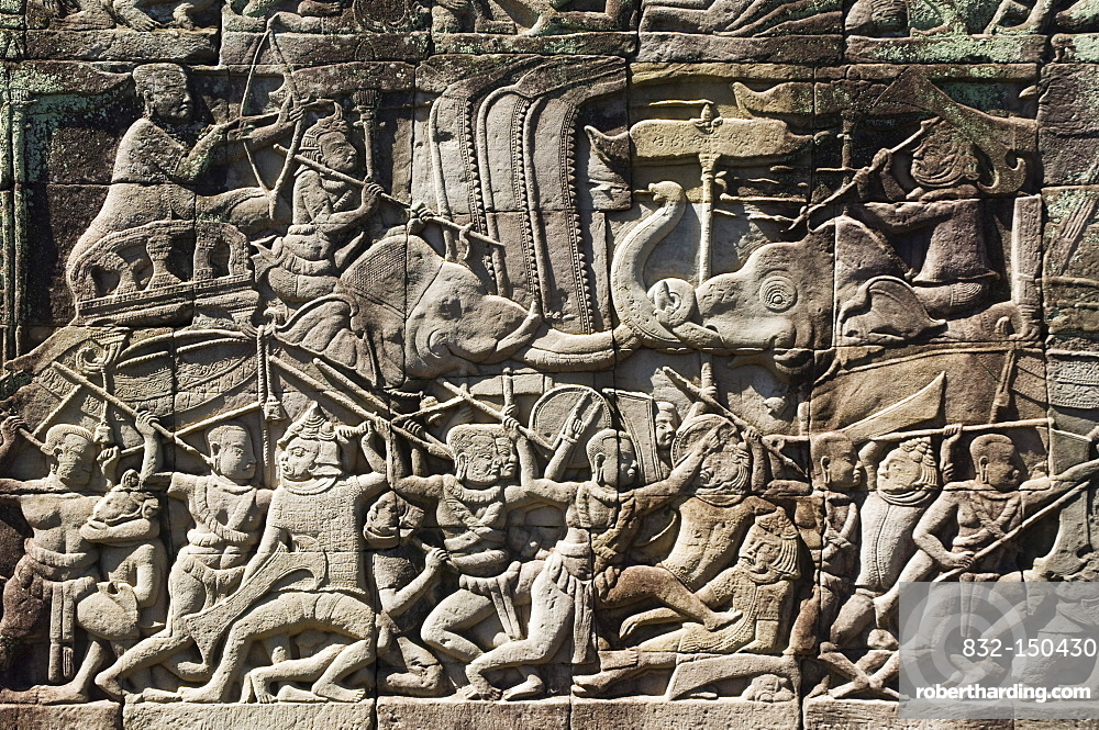 Relief, Bayon Temple, Angkor temples, Siem Reap, Cambodia, Indochina, Southeast Asia