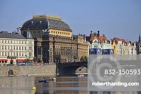 National Theatre, Narodni divadlo, Legion Bridge, Old Town, Prague, Czech Republic, Europe
