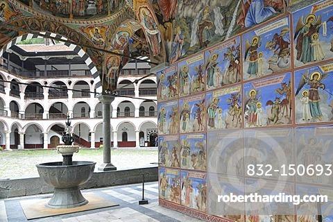 Murals, monastery church Sweta Bogorodiza, Orthodox Rila Monastery, UNESCO World Heritage Site, Bulgaria, Europe