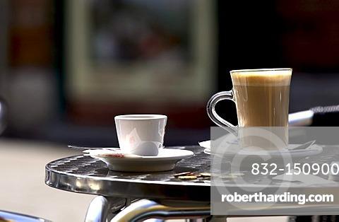 Espresso and Latte Macchiato table setting, Venice, Italy, Europe