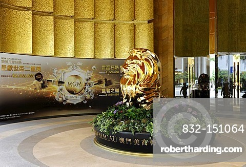 Golden Lion at the entrance to the MGM in Macao, China, Asia