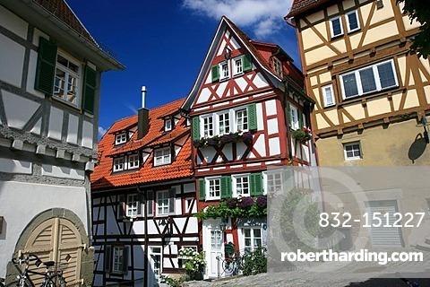 Half-timbered houses, Herrenberg, Boeblingen county, Baden-Wuerttemberg, Germany, Europe
