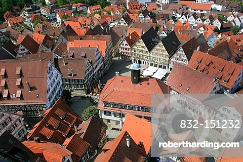 View from the tower of the Stiftskirche church on the marketplace, Herrenberg, Boeblingen county, Baden-Wuerttemberg, Germany, Europe
