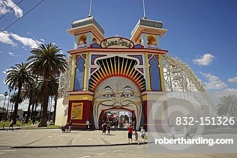 Entrance to the Luna Park amusement park in St. Kilda, Melbourne, Victoria, Australia