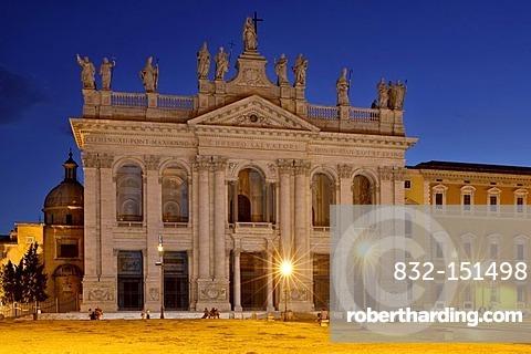 Main front of the Basilica San Giovanni in Laterano, Rome, Lazio, Italy, Europe